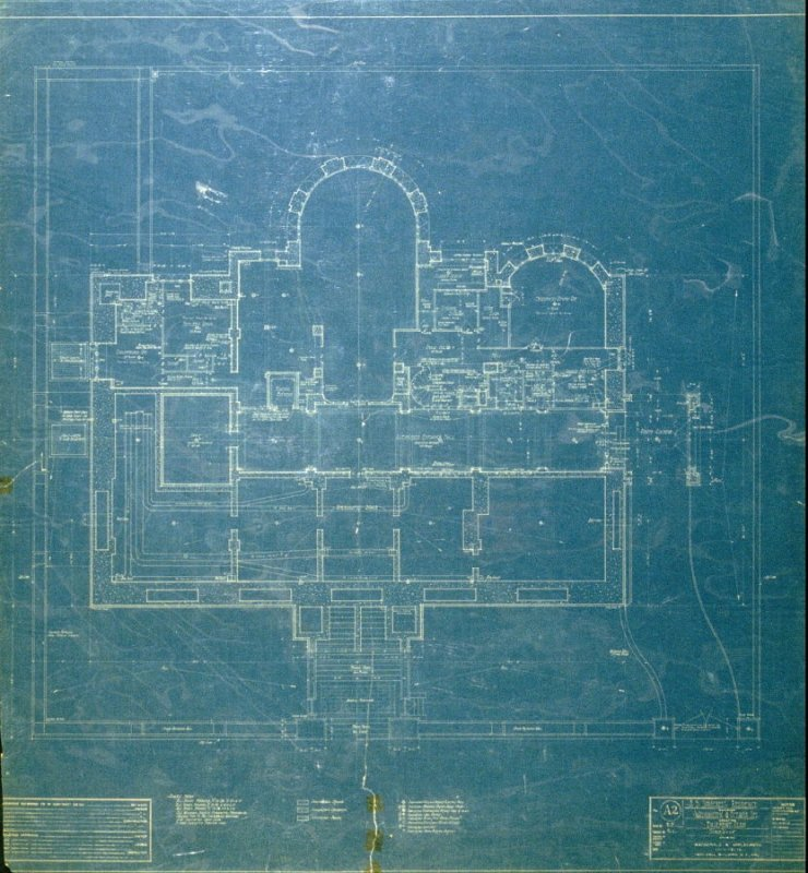 A. B. Spreckels Residence, Washington and Octavia Streets: Basement Plan, second from a group of eleven architectural blueprints