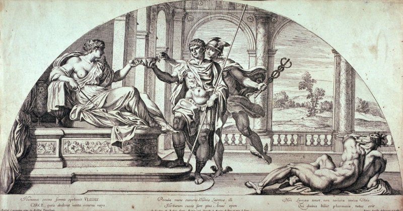 Circe and Ulysses, after Annibale Carracci from the series Galeriae Farnesianae Icones Romae...