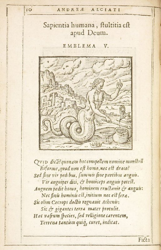 Sapientia humana, stultitia est apud Deum (The Wisdom of Man is folly to God), emblem 5 in the book Emblemata by Andrea Alciato (Antwerp: Plantin [under the direction] of Raphelengius, 1608)