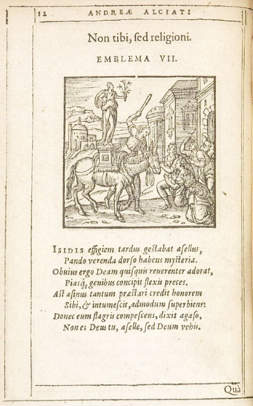 Non tibi, sed religioni (Not for you but for religion), emblem 7 in the book Emblemata by Andrea Alciato (Antwerp: Plantin [under the direction] of Raphelengius, 1608)