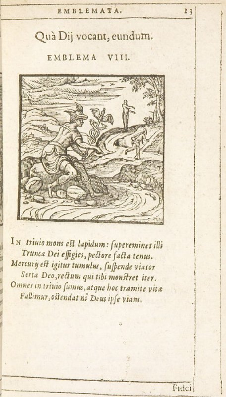 Quà Dii vocant, eundum (Go where Heaven calls), emblem 8 in the book Emblemata by Andrea Alciato (Antwerp: Plantin [under the direction] of Raphelengius, 1608)