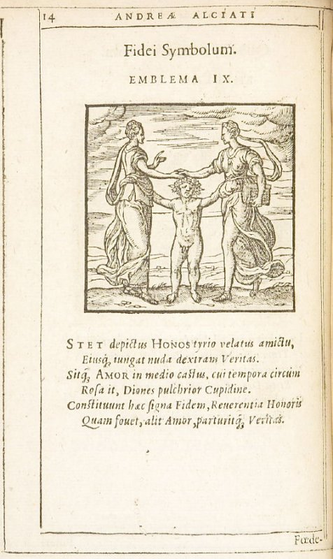 Fidei Symbolum (The symbol of good faith), emblem 9 in the book Emblemata by Andrea Alciato (Antwerp: Plantin [under the direction] of Raphelengius, 1608)