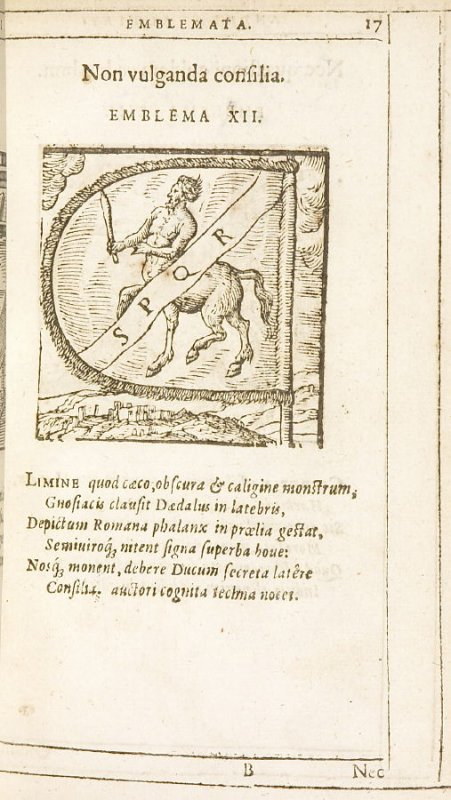 Non vulganda consilia (Keep counsels secret), emblem 12 in the book Emblemata by Andrea Alciato (Antwerp: Plantin [under the direction] of Raphelengius, 1608)