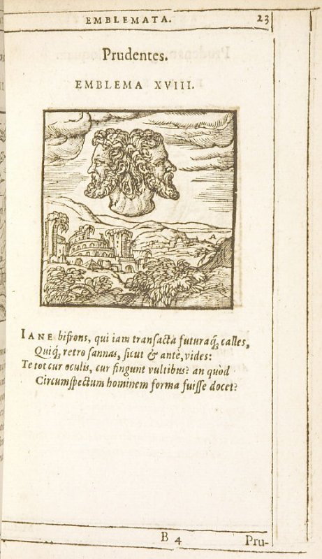 Prudentes (The Wise), emblem 18 in the book Emblemata by Andrea Alciato (Antwerp: Plantin [under the direction] of Raphelengius, 1608)