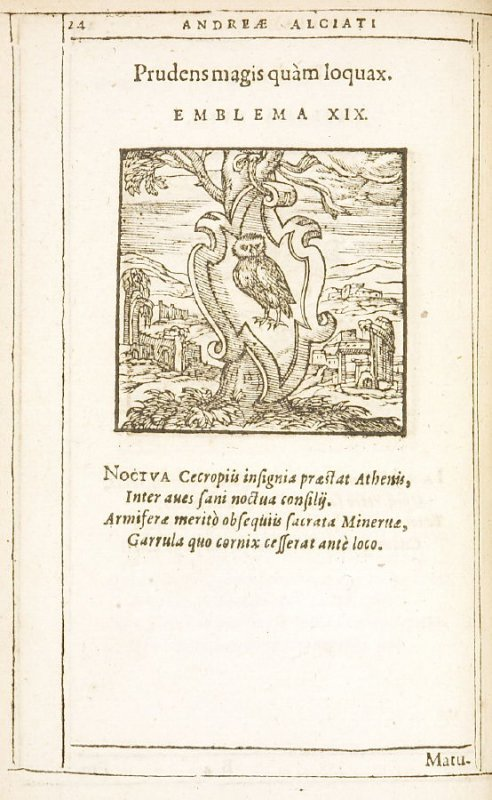 Prudens magis quam loquax (Wise head, close mouth), emblem 19 in the book Emblemata by Andrea Alciato (Antwerp: Plantin [under the direction] of Raphelengius, 1608)