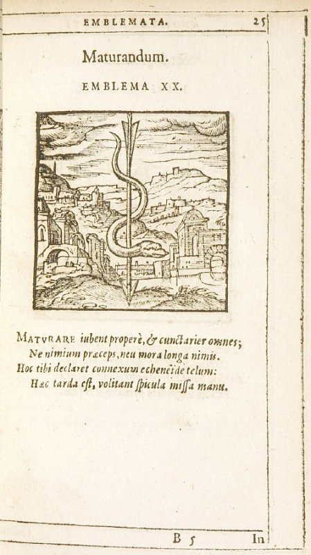 Maturandum (All in good time), emblem 20 in the book Emblemata by Andrea Alciato (Antwerp: Plantin [under the direction] of Raphelengius, 1608)