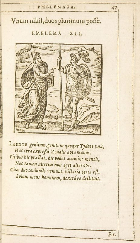 Unum nihil, duos plurimum posse (One can do nothing, two can do much), emblem 41 in the book Emblemata by Andrea Alciato (Antwerp: Plantin [under the direction] of Raphelengius, 1608)