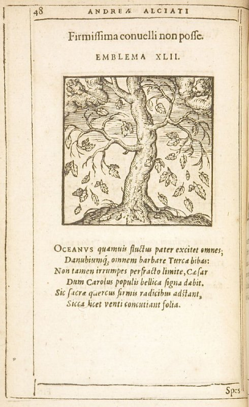 Firmissima convelli non posse (The firmest things cannot be uprooted), emblem 42 in the book Emblemata by Andrea Alciato (Antwerp: Plantin [under the direction] of Raphelengius, 1608)