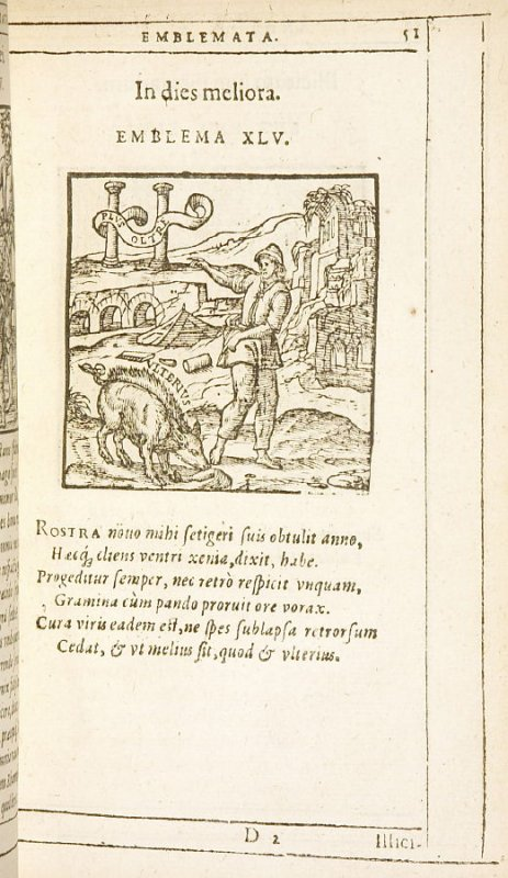 In dies meliora (Getting better every day), emblem 45 in the book Emblemata by Andrea Alciato (Antwerp: Plantin [under the direction] of Raphelengius, 1608)