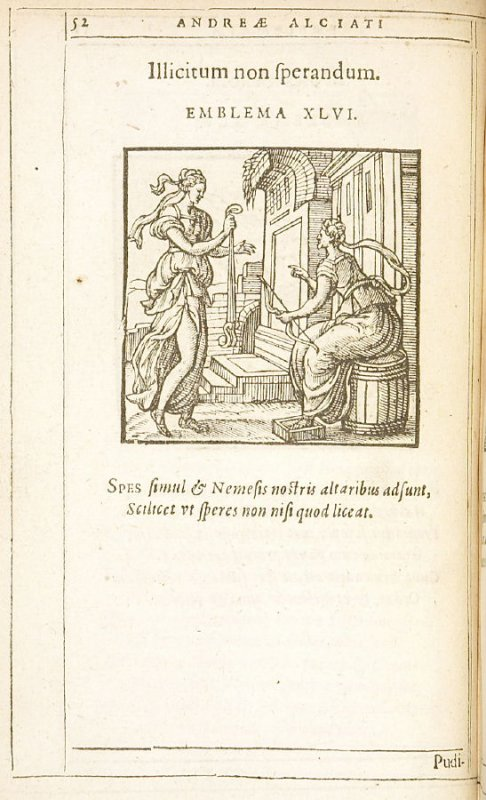 Illicitum non sperandum (Do not hope for what is not allowed), emblem 46 in the book Emblemata by Andrea Alciato (Antwerp: Plantin [under the direction] of Raphelengius, 1608)