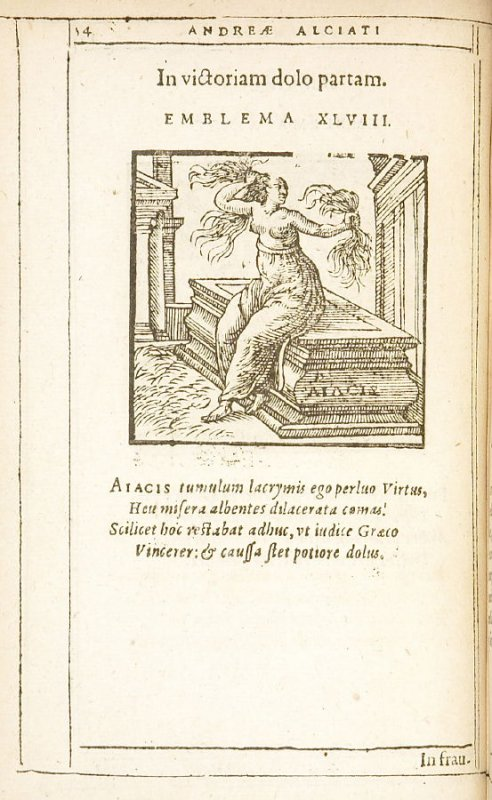 In victoriam dolo partam (On victory won by guile), emblem 48 in the book Emblemata by Andrea Alciato (Antwerp: Plantin [under the direction] of Raphelengius, 1608)