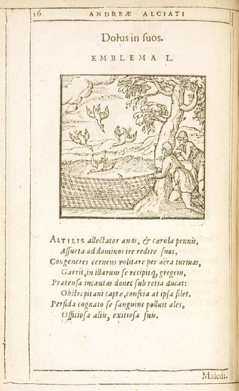 Dolus in suos (Treachery against one's own kind), emblem 50 in the book Emblemata by Andrea Alciato (Antwerp: Plantin [under the direction] of Raphelengius, 1608)