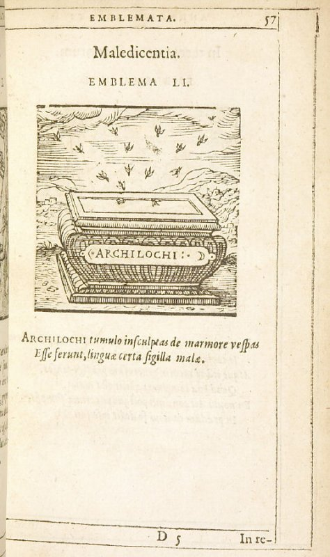 Maledicentia (Evil speaking), emblem 51 in the book Emblemata by Andrea Alciato (Antwerp: Plantin [under the direction] of Raphelengius, 1608)
