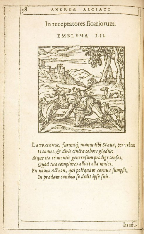 In receptatores sicariorum (Those who harbor cut-throats), emblem 52 in the book Emblemata by Andrea Alciato (Antwerp: Plantin [under the direction] of Raphelengius, 1608)