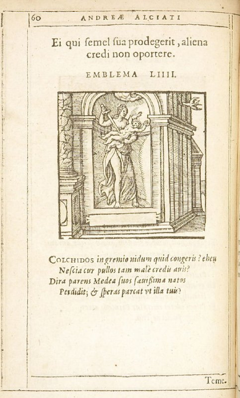 Ei qui semel sua prodegerit, aliena credi non oportere (Others' property should not be entrusted to a person who has once squandered his own), emblem 54 in the book Emblemata by Andrea Alciato (Antwerp: Plantin [under the direction] of Raphelengius, 1608)