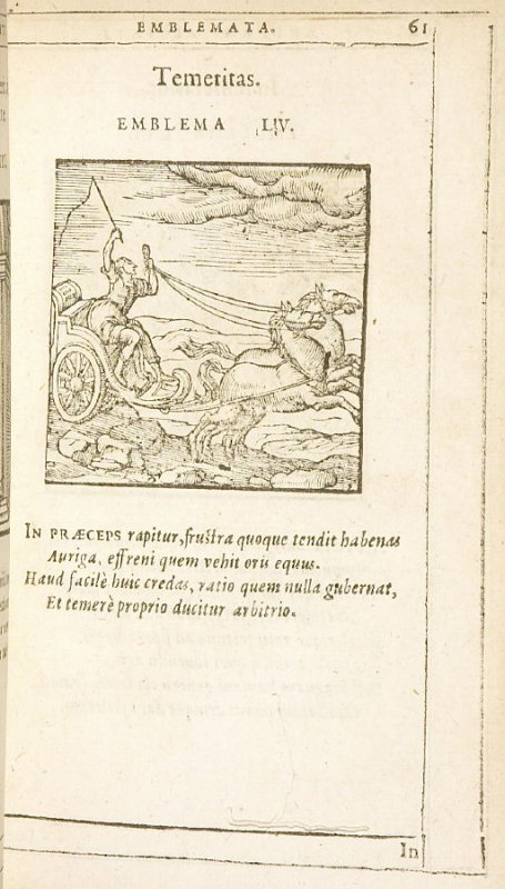 Temeritas (Rashmess), emblem 55 in the book Emblemata by Andrea Alciato (Antwerp: Plantin [under the direction] of Raphelengius, 1608)