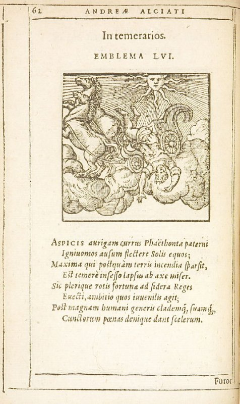 In temerarios (The reckless), emblem 56 in the book Emblemata by Andrea Alciato (Antwerp: Plantin [under the direction] of Raphelengius, 1608)
