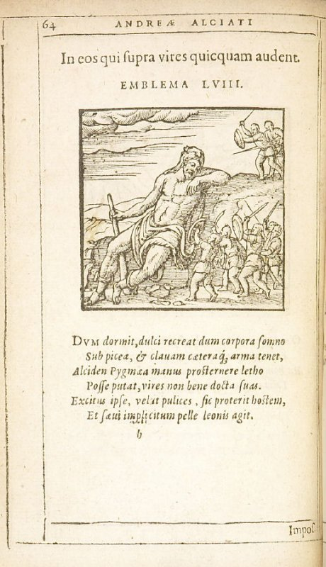 In eos qui supra vires quicquam audent (Those who venture on what is beyond their powers), emblem 58 in the book Emblemata by Andrea Alciato (Antwerp: Plantin [under the direction] of Raphelengius, 1608)