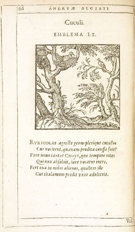Cuculi (Cuckoos), emblem 60 in the book Emblemata by Andrea Alciato (Antwerp: Plantin [under the direction] of Raphelengius, 1608)