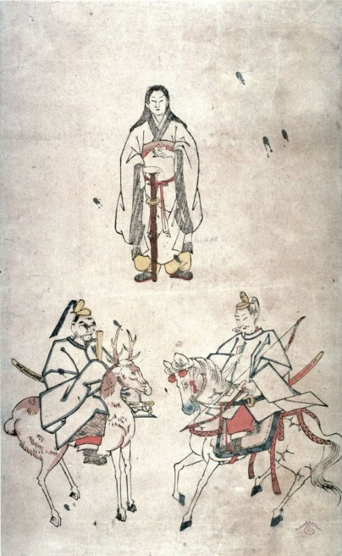 [Amaterasu and attendants on horse and deer]