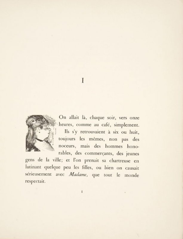 Vignette for beginning of chapter 1, on page 1 in the book La maison Tellier by Guy de Maupassant (Paris: Ambroise Vollard, 1934)