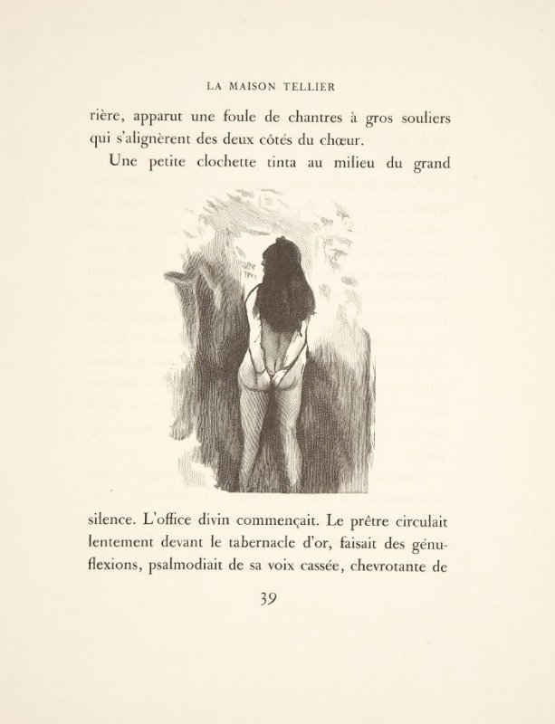 Illustration in the text for chapter 2, on page 39 in the book La maison Tellier by Guy de Maupassant (Paris: Ambroise Vollard, 1934)