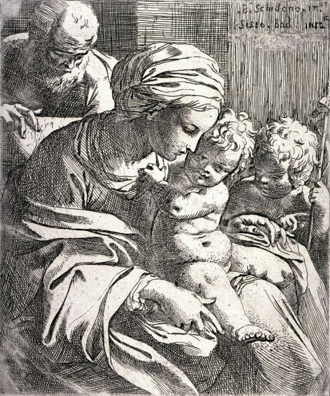 The Holy Family With the Young John the Baptist, after B. Schedone