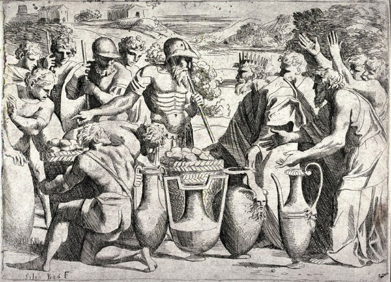 Melchisedek Offering Bread and Wine to Abraham, from the series of etchings Biblical Scenes, after the frescoes by Raphael in the Vatican Loggia