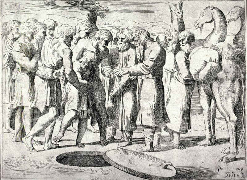 Joseph Sold to the Ishmaelites, from the series of etchings Biblical Scenes, after the frescoes by Raphael in the Vatican Loggia