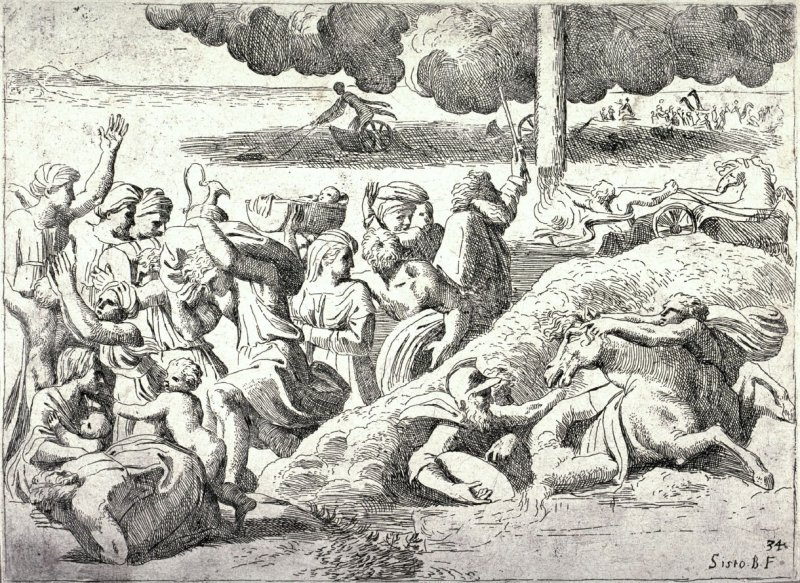 The Isrealites Crossing the Red Sea, from the series of etchings Biblical Scenes, after the frescoes by Raphael in the Vatican Loggia