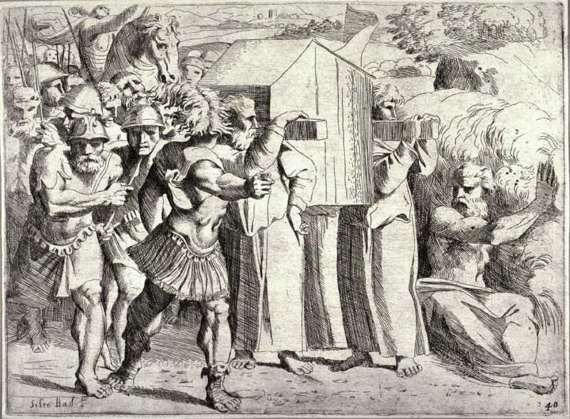 The Israelites Crossing the Jordan River, Carrying the Ark of the Covenant, from the series of etchings Biblical Scenes, after the frescoes by Raphael in the Vatican Loggia