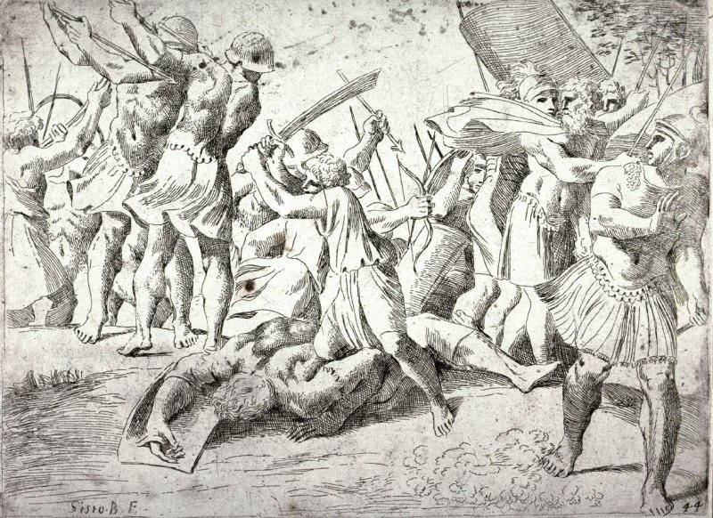 David Slaying Goliath, from the series of etchings Biblical Scenes, after the frescoes by Raphael in the Vatican Loggia