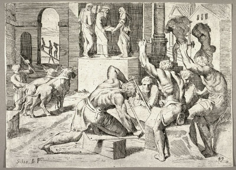 Solomon Building the Temple of God in Jerusalem, from the series of etchings Biblical Scenes, after the frescoes by Raphael in the Vatican Loggia