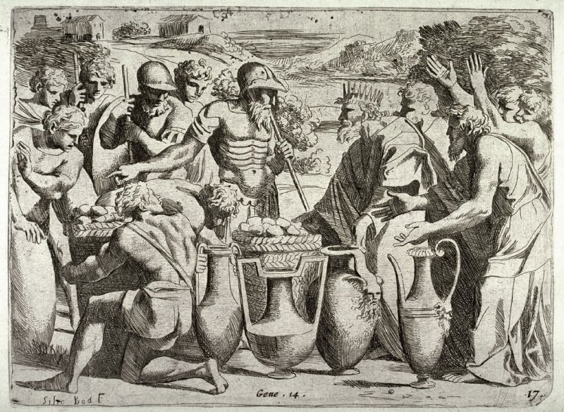 Melchisadek Offering Beer and Wine to Abraham, from the series of etchings Biblical Scenes, after the frescoes by Raphael in the Vatican Loggia