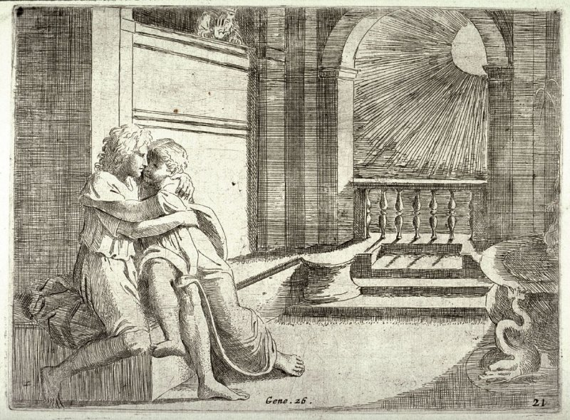 Isaac and Rebecca Spied upon by Abimelech, from the series of etchings Biblical Scenes, after the frescoes by Raphael in the Vatican Loggia