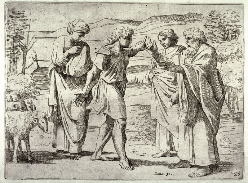Jacob and Laban with Leah and Rachel, from the series of etchings Biblical Scenes, after the frescoes by Raphael in the Vatican Loggia