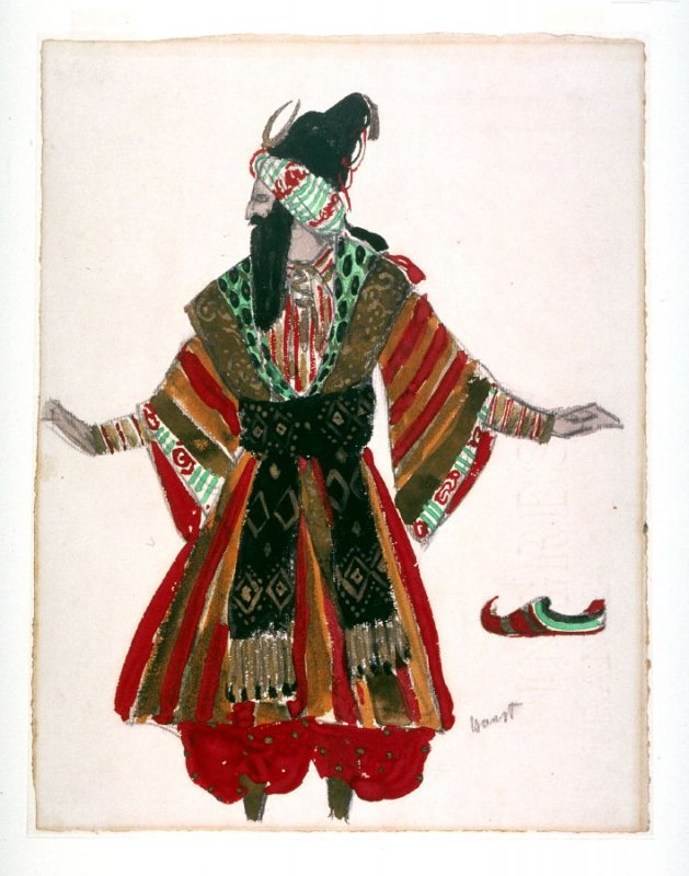 Costume design for the Sultan Zeman in the choreographic drama Schéhérazade