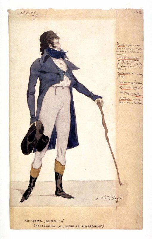Costume design for the Viscount in the pantomime Le Coeur de la marquise (The Heart of the Marchioness)