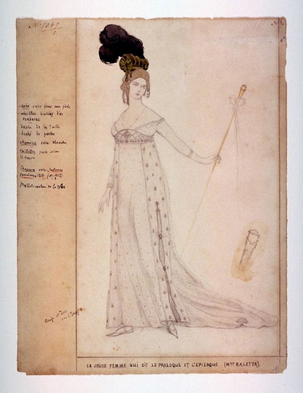 Costume design for the woman who speaks the prologue and the epilogue (Mlle. Baletta) in the pantomime Le Coeur de la marquise (The Heart of the Marchioness)