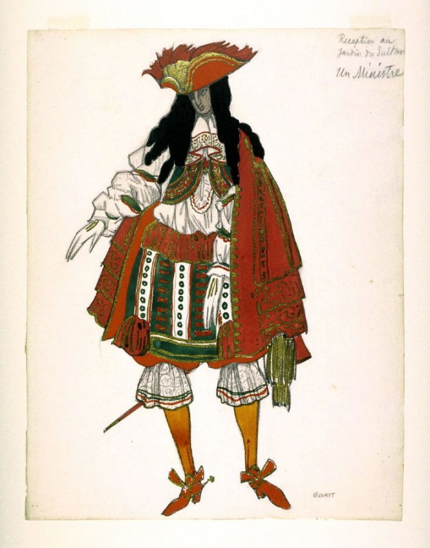 Costume design for a Minister of State in scene 1 of the ballet The Sleeping Princess