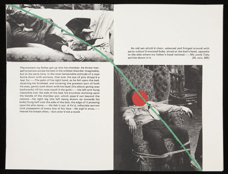 "Fourteenth double-page images ( ""The moment my father got up into his chamber, he threw himself prostrate across his bed..."") in volume 3 of the book The Life and Opinions of Tristram Shandy, Gentleman by Laurence Sterne (San Francisco: Arion Press, 1988)"