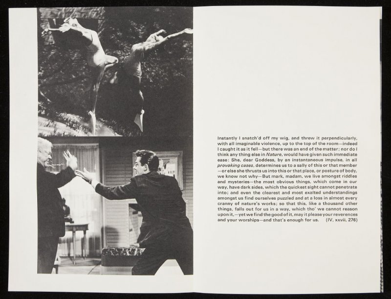 "Seventeenth double-page images ( ""Instantly I snatched off my wig, and threw it perpendicularly..."") in volume 3 of the book The Life and Opinions of Tristram Shandy, Gentleman by Laurence Sterne (San Francisco: Arion Press, 1988)"