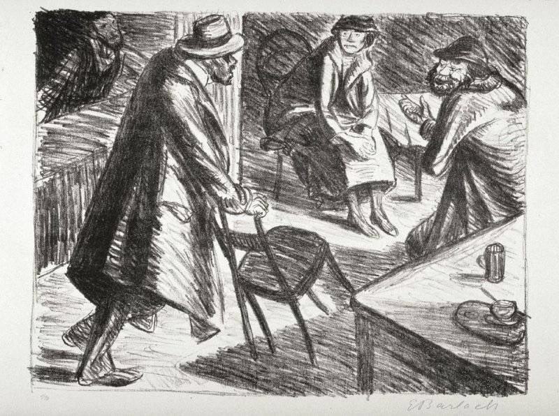 Gestörter Aufbruch (Troubled Departure), twelfth plate from the portfolio volume of Der Arme Vetter (Berllin: Paul Cassirer, 1919)
