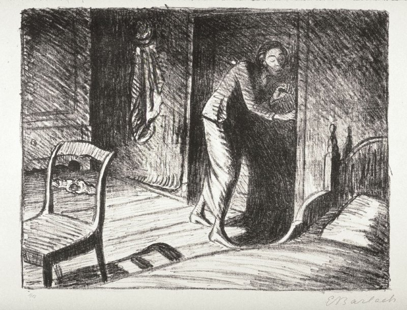 Die Lauscherin (The Eavesdropper), eighteenth plate from the portfolio volume of Der Arme Vetter (Berllin: Paul Cassirer, 1919)