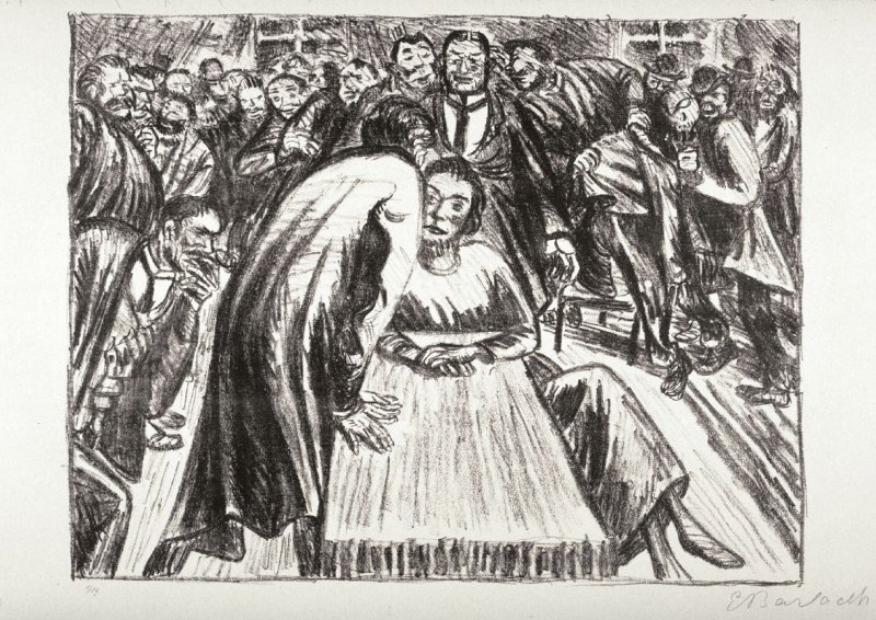 Das Paar in der Menge 1-Heimliches Gespräch (Couple in the Crowd 1-Secret Conversation), twenty-first plate from the portfolio volume of Der Arme Vetter (Berllin: Paul Cassirer, 1919)
