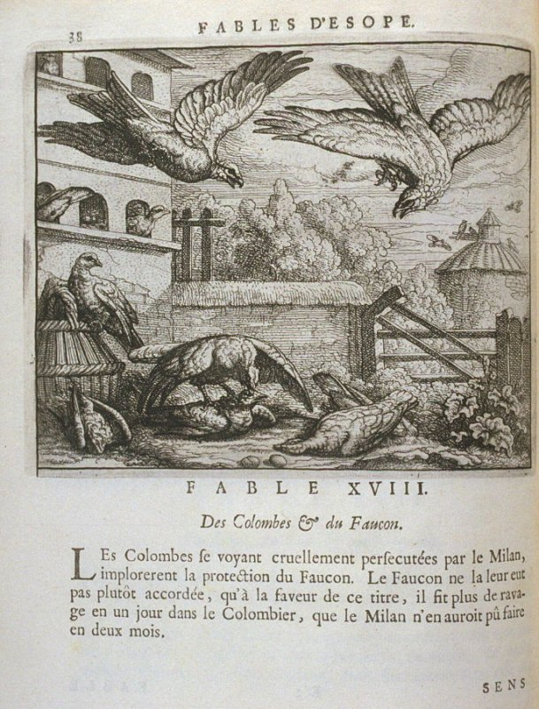 Illustration for the eighteenth fable on page38 in the book Les fables d'Esope et de plusieurs autres excellens mythologistes (Amsterdam: Etienne Roger 1714)