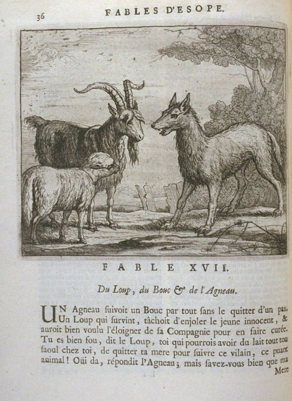 Illustration for the seventeenth fable on page36 in the book Les fables d'Esope et de plusieurs autres excellens mythologistes (Amsterdam: Etienne Roger 1714)