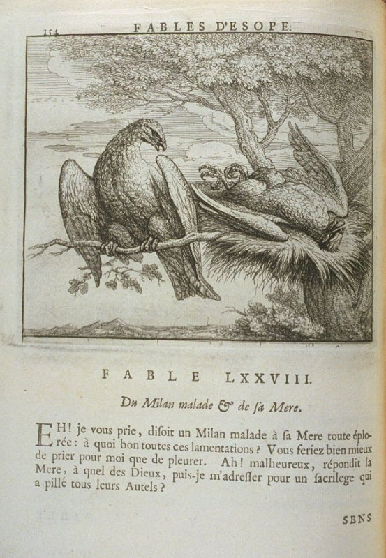 Illustration for the seventy-eighth fable on page 154 in the book Les fables d'Esope et de plusieurs autres excellens mythologistes (Amsterdam: Etienne Roger 1714)
