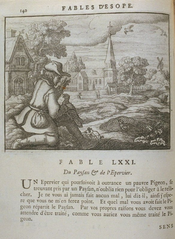 Illustration for the seventy-first fable on page 140 in the book Les fables d'Esope et de plusieurs autres excellens mythologistes (Amsterdam: Etienne Roger 1714)