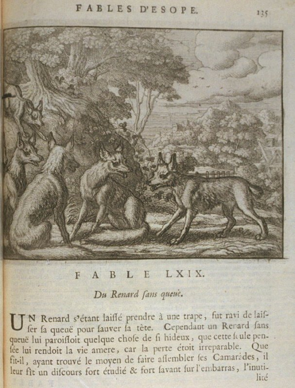 Illustration for the sixty-ninth fable on page 135 in the book Les fables d'Esope et de plusieurs autres excellens mythologistes (Amsterdam: Etienne Roger 1714)